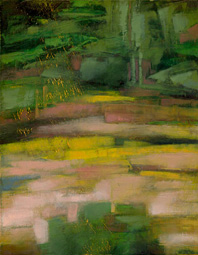 Forest Cove (detail), painting by Alexandria Levin